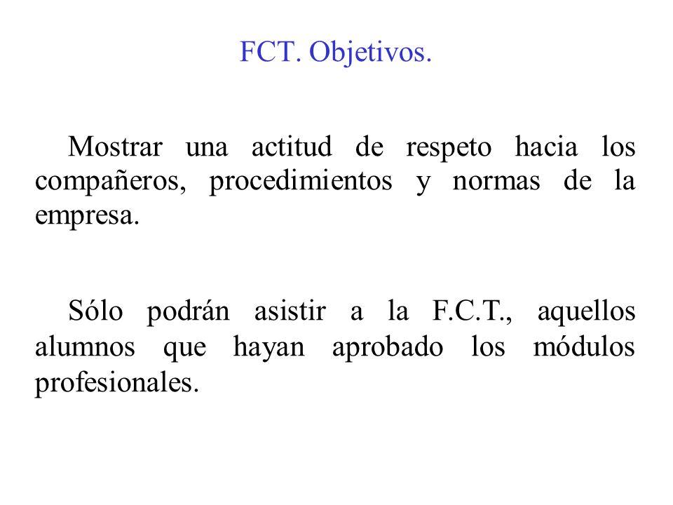 FCT. Objetivos. Mostrar una actitud de respeto hacia los compañeros, procedimientos y normas de la empresa. Sólo podrán asistir a la F.C.T., aquellos
