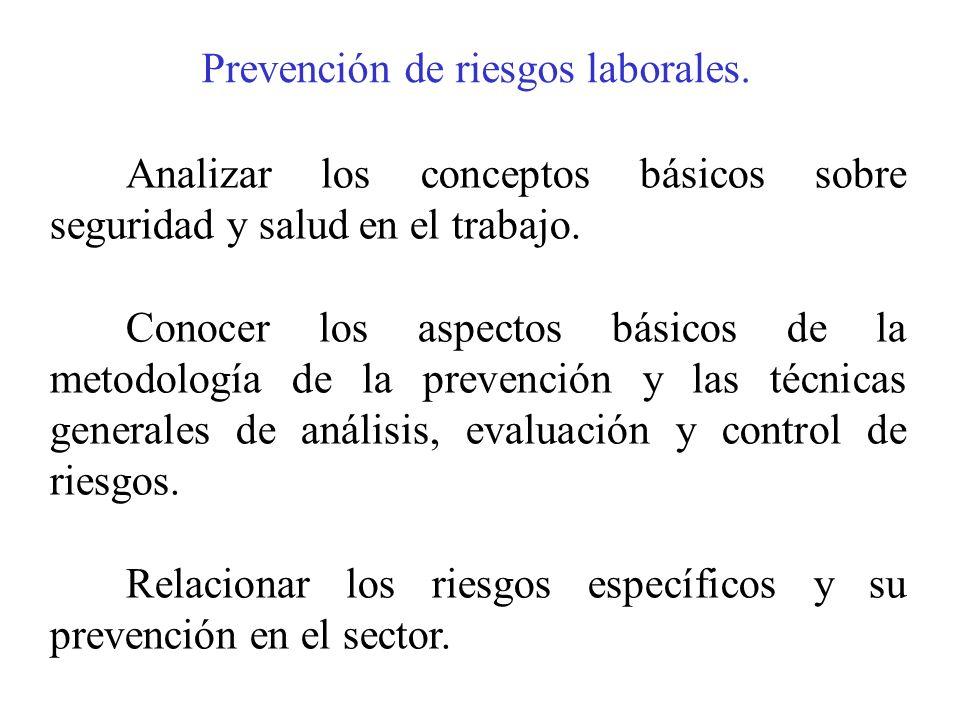 Prevención de riesgos laborales. Analizar los conceptos básicos sobre seguridad y salud en el trabajo. Conocer los aspectos básicos de la metodología
