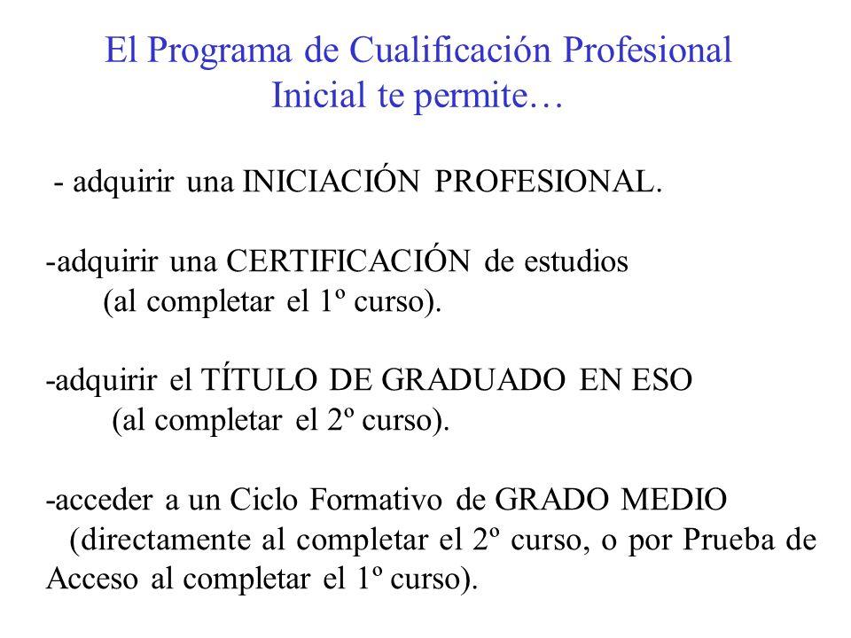 El Programa de Cualificación Profesional Inicial te permite… - adquirir una INICIACIÓN PROFESIONAL. -adquirir una CERTIFICACIÓN de estudios (al comple