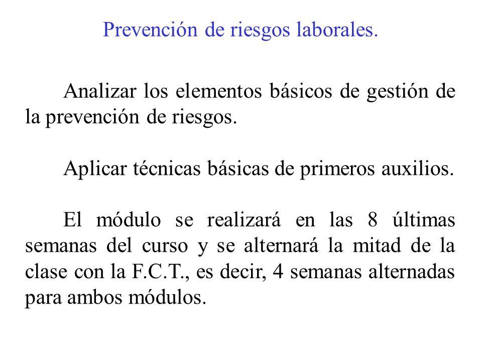 Prevención de riesgos laborales. Analizar los elementos básicos de gestión de la prevención de riesgos. Aplicar técnicas básicas de primeros auxilios.