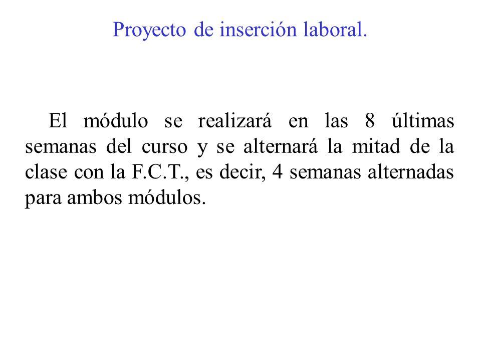 Proyecto de inserción laboral. El módulo se realizará en las 8 últimas semanas del curso y se alternará la mitad de la clase con la F.C.T., es decir,