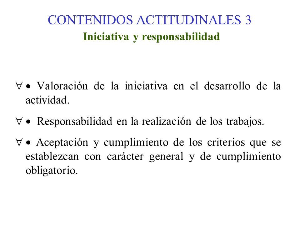 CONTENIDOS ACTITUDINALES 3 Iniciativa y responsabilidad Valoración de la iniciativa en el desarrollo de la actividad. Responsabilidad en la realizació
