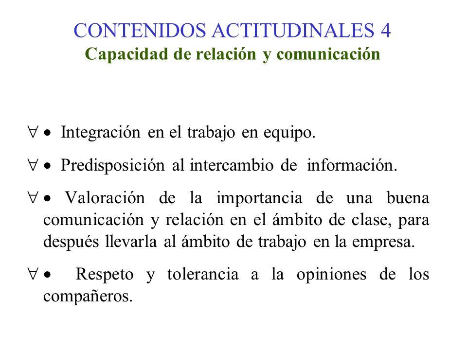 CONTENIDOS ACTITUDINALES 4 Capacidad de relación y comunicación Integración en el trabajo en equipo. Predisposición al intercambio de información. Val