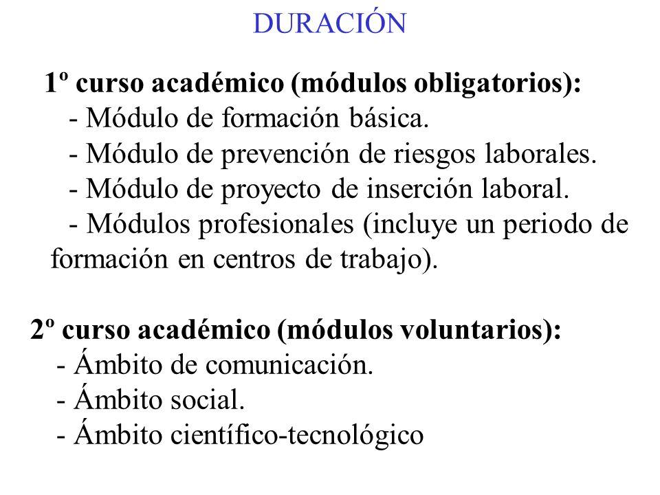 DURACIÓN 1º curso académico (módulos obligatorios): - Módulo de formación básica. - Módulo de prevención de riesgos laborales. - Módulo de proyecto de