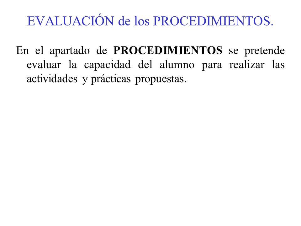 EVALUACIÓN de los PROCEDIMIENTOS. En el apartado de PROCEDIMIENTOS se pretende evaluar la capacidad del alumno para realizar las actividades y práctic