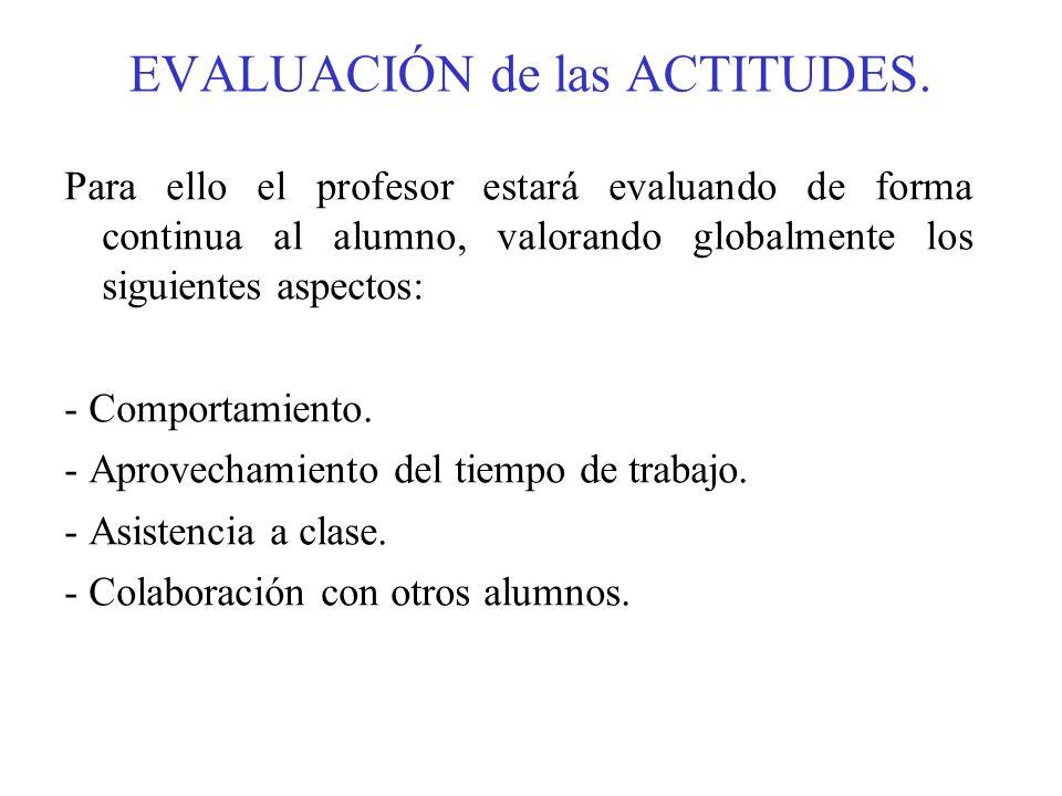EVALUACIÓN de las ACTITUDES. Para ello el profesor estará evaluando de forma continua al alumno, valorando globalmente los siguientes aspectos: - Comp
