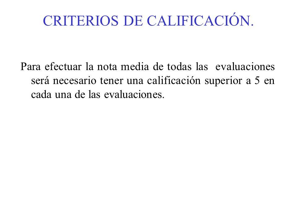 CRITERIOS DE CALIFICACIÓN. Para efectuar la nota media de todas las evaluaciones será necesario tener una calificación superior a 5 en cada una de las
