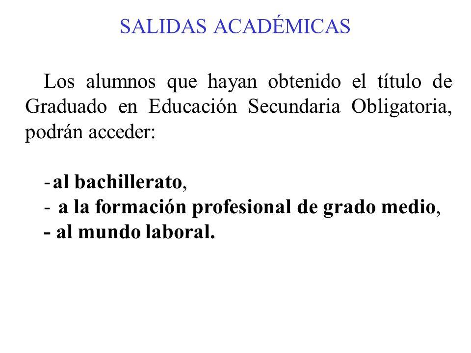 SALIDAS ACADÉMICAS Los alumnos que hayan obtenido el título de Graduado en Educación Secundaria Obligatoria, podrán acceder: -al bachillerato, - a la