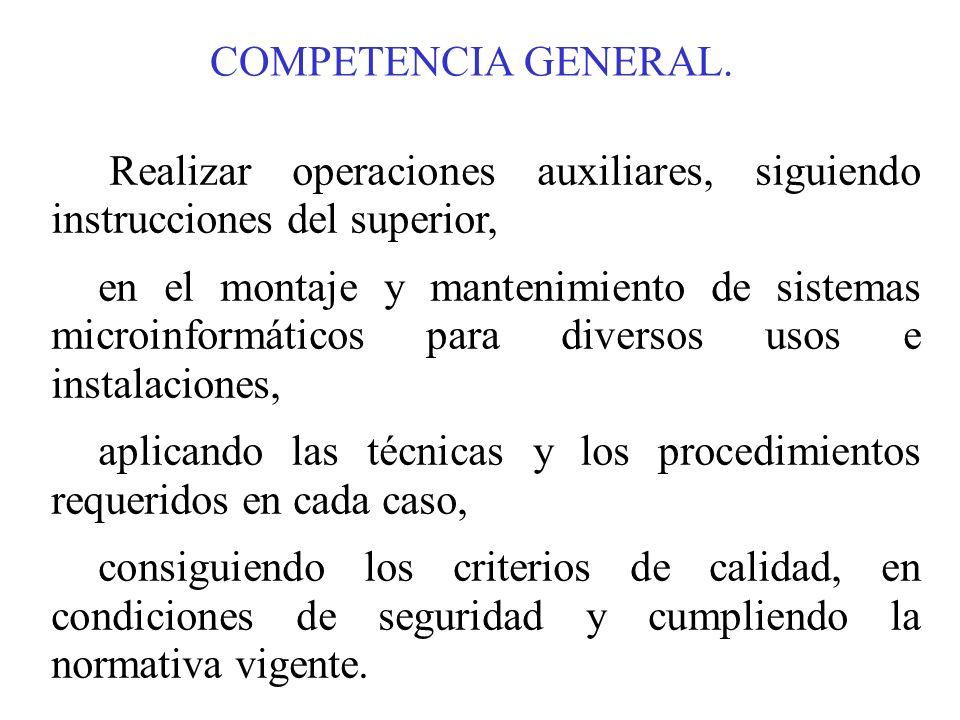 COMPETENCIA GENERAL. Realizar operaciones auxiliares, siguiendo instrucciones del superior, en el montaje y mantenimiento de sistemas microinformático