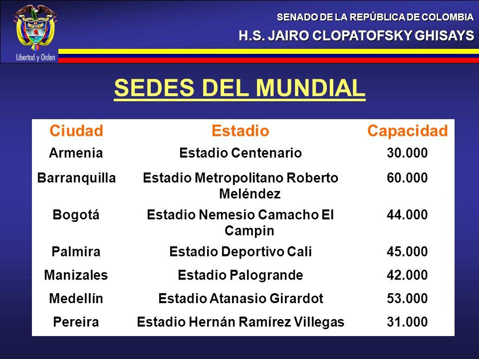H.S. JAIRO CLOPATOFSKY GHISAYS SENADO DE LA REPÚBLICA DE COLOMBIA SEDES DEL MUNDIAL CiudadEstadioCapacidad ArmeniaEstadio Centenario30.000 Barranquill