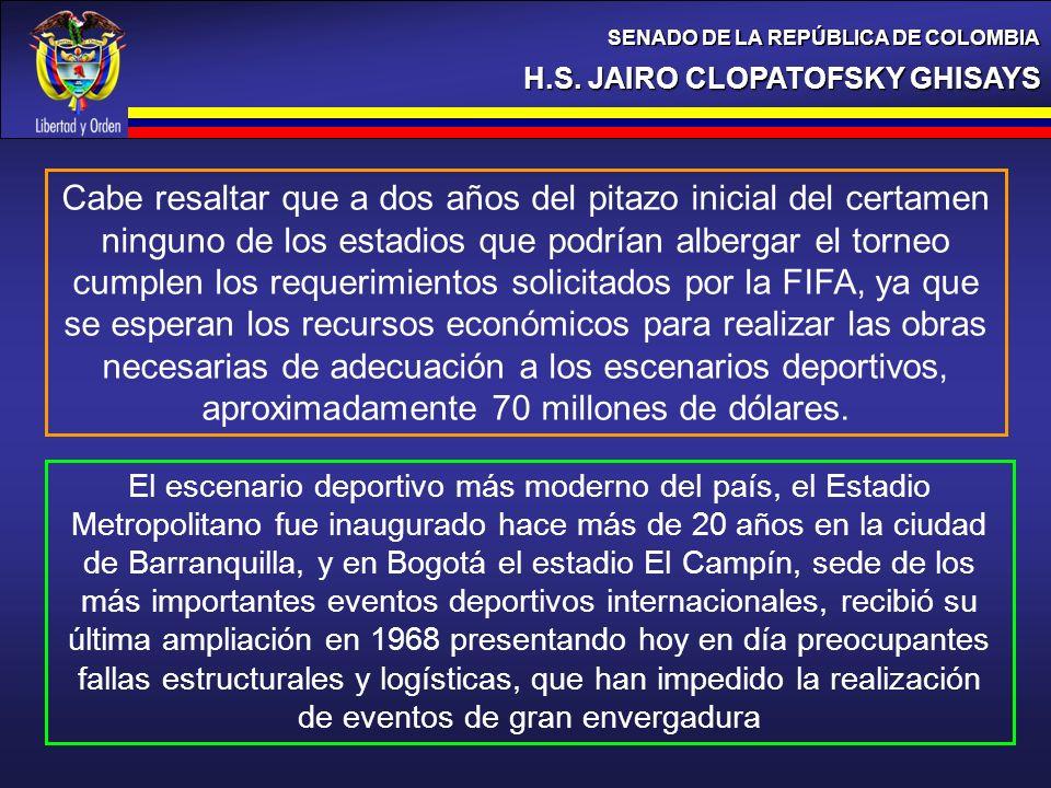 H.S. JAIRO CLOPATOFSKY GHISAYS SENADO DE LA REPÚBLICA DE COLOMBIA Cabe resaltar que a dos años del pitazo inicial del certamen ninguno de los estadios