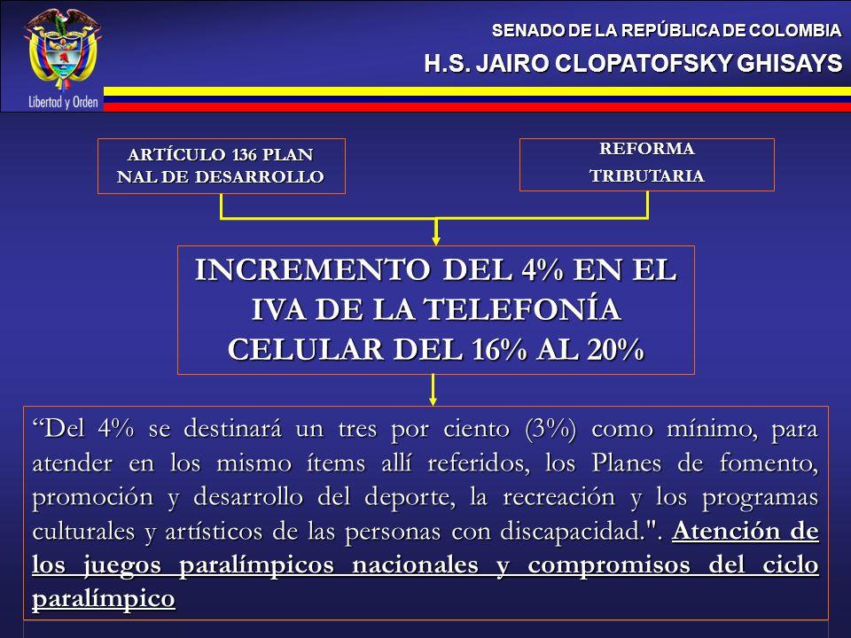 H.S. JAIRO CLOPATOFSKY GHISAYS SENADO DE LA REPÚBLICA DE COLOMBIA INCREMENTO DEL 4% EN EL IVA DE LA TELEFONÍA CELULAR DEL 16% AL 20% Del 4% se destina