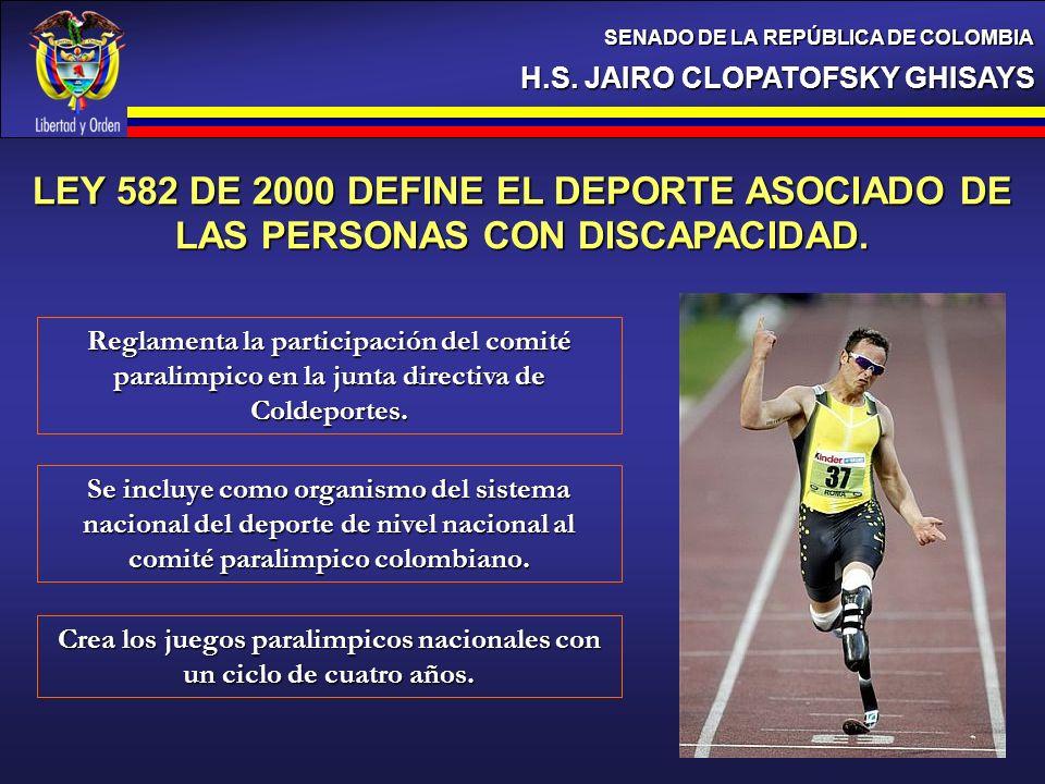 H.S. JAIRO CLOPATOFSKY GHISAYS SENADO DE LA REPÚBLICA DE COLOMBIA Reglamenta la participación del comité paralimpico en la junta directiva de Coldepor