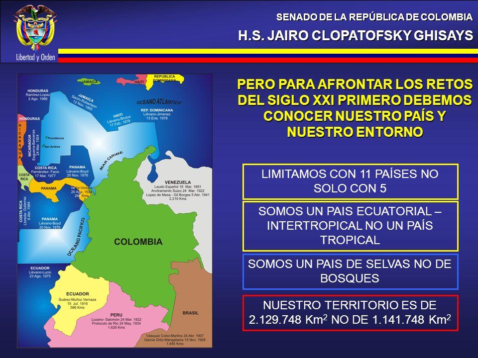H.S. JAIRO CLOPATOFSKY GHISAYS SENADO DE LA REPÚBLICA DE COLOMBIA PERO PARA AFRONTAR LOS RETOS DEL SIGLO XXI PRIMERO DEBEMOS CONOCER NUESTRO PAÍS Y NU
