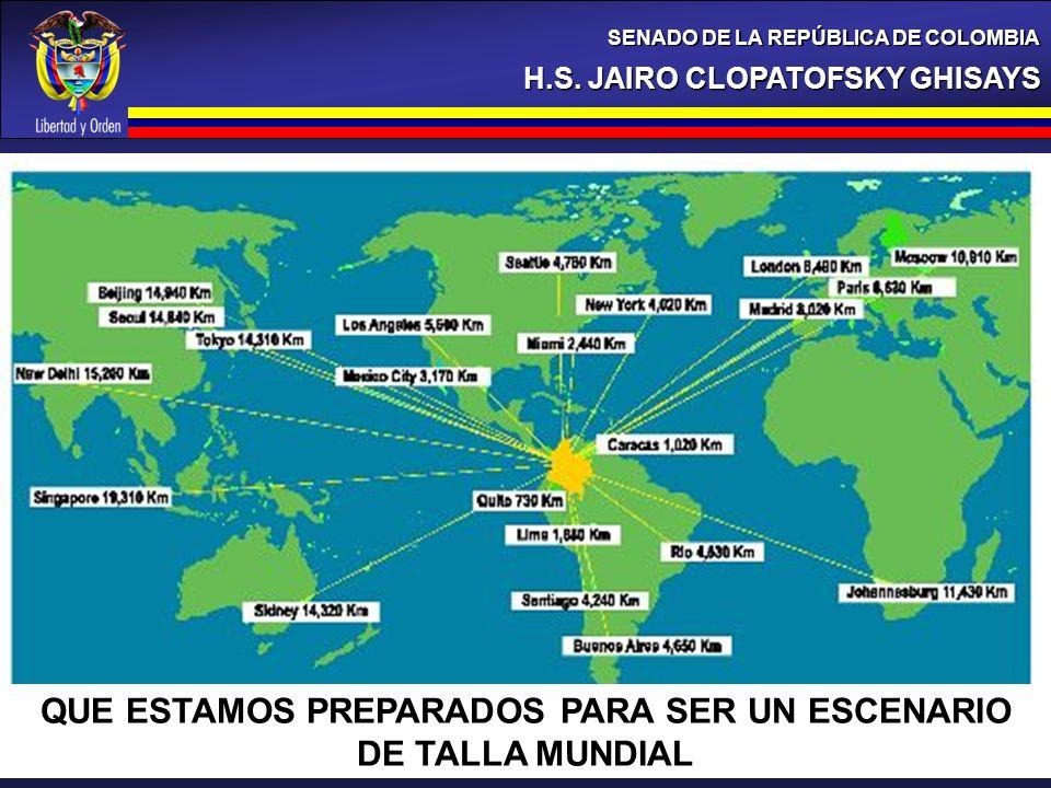 H.S. JAIRO CLOPATOFSKY GHISAYS SENADO DE LA REPÚBLICA DE COLOMBIA QUE ESTAMOS PREPARADOS PARA SER UN ESCENARIO DE TALLA MUNDIAL