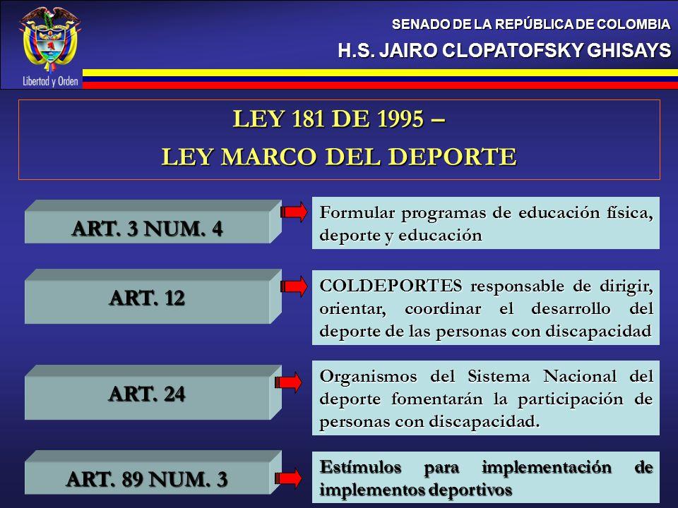 H.S. JAIRO CLOPATOFSKY GHISAYS SENADO DE LA REPÚBLICA DE COLOMBIA LEY 181 DE 1995 – LEY MARCO DEL DEPORTE ART. 3 NUM. 4 ART. 24 ART. 89 NUM. 3 Formula