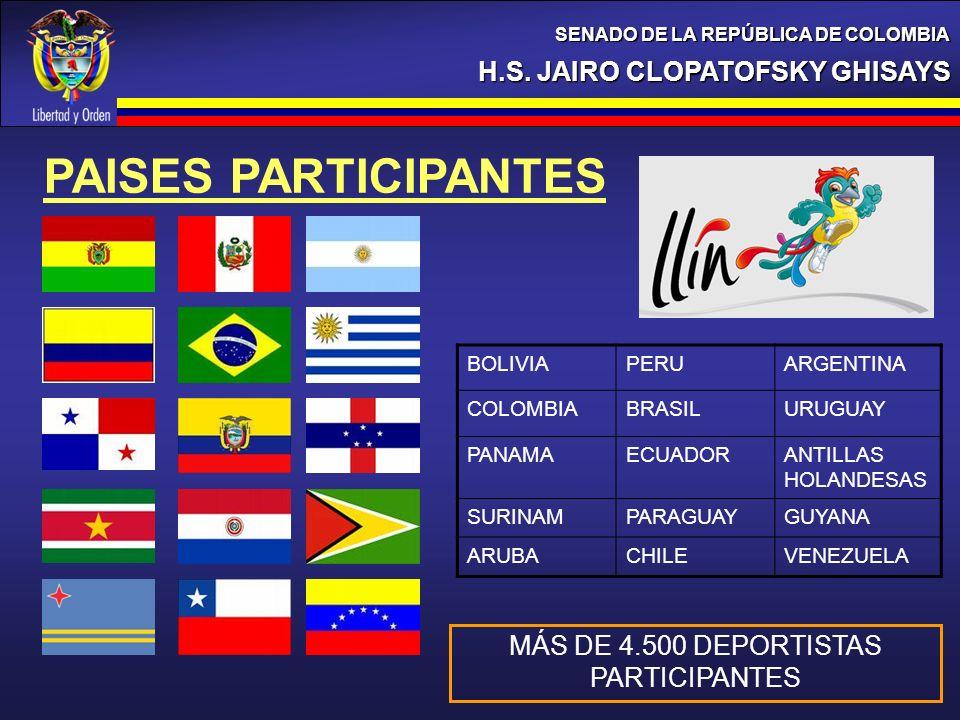 H.S. JAIRO CLOPATOFSKY GHISAYS SENADO DE LA REPÚBLICA DE COLOMBIA PAISES PARTICIPANTES BOLIVIAPERUARGENTINA COLOMBIABRASILURUGUAY PANAMAECUADORANTILLA