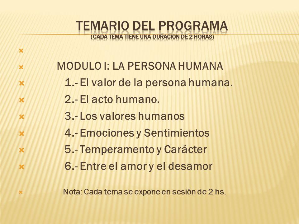 MODULO I: LA PERSONA HUMANA 1.- El valor de la persona humana. 2.- El acto humano. 3.- Los valores humanos 4.- Emociones y Sentimientos 5.- Temperamen