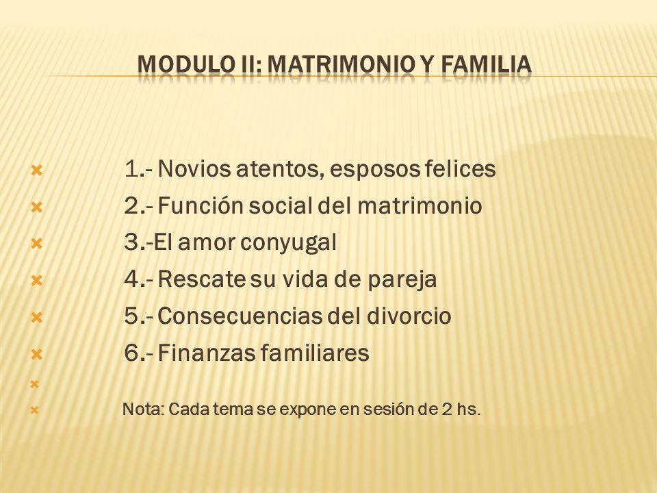 1.- Novios atentos, esposos felices 2.- Función social del matrimonio 3.-El amor conyugal 4.- Rescate su vida de pareja 5.- Consecuencias del divorcio