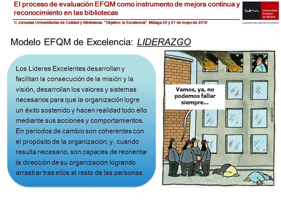Modelo EFQM de Excelencia: LIDERAZGO Los Líderes Excelentes desarrollan y facilitan la consecución de la misión y la visión, desarrollan los valores y
