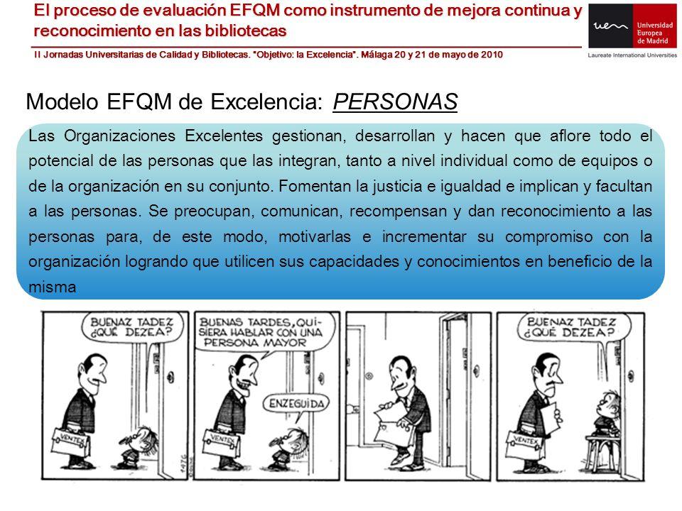 Modelo EFQM de Excelencia: PERSONAS Las Organizaciones Excelentes gestionan, desarrollan y hacen que aflore todo el potencial de las personas que las