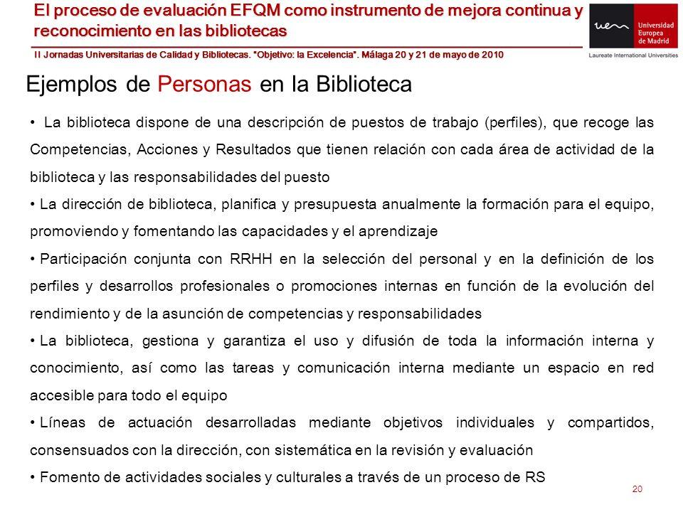 20 Ejemplos de Personas en la Biblioteca La biblioteca dispone de una descripción de puestos de trabajo (perfiles), que recoge las Competencias, Accio