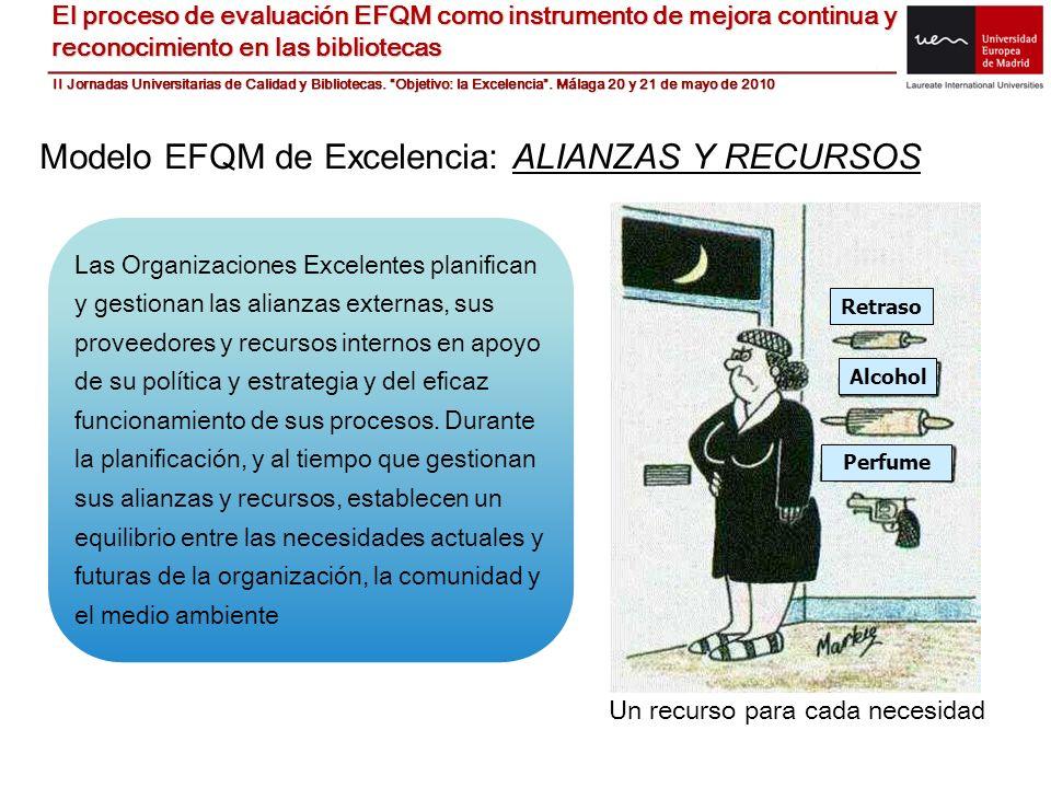 Modelo EFQM de Excelencia: ALIANZAS Y RECURSOS Las Organizaciones Excelentes planifican y gestionan las alianzas externas, sus proveedores y recursos