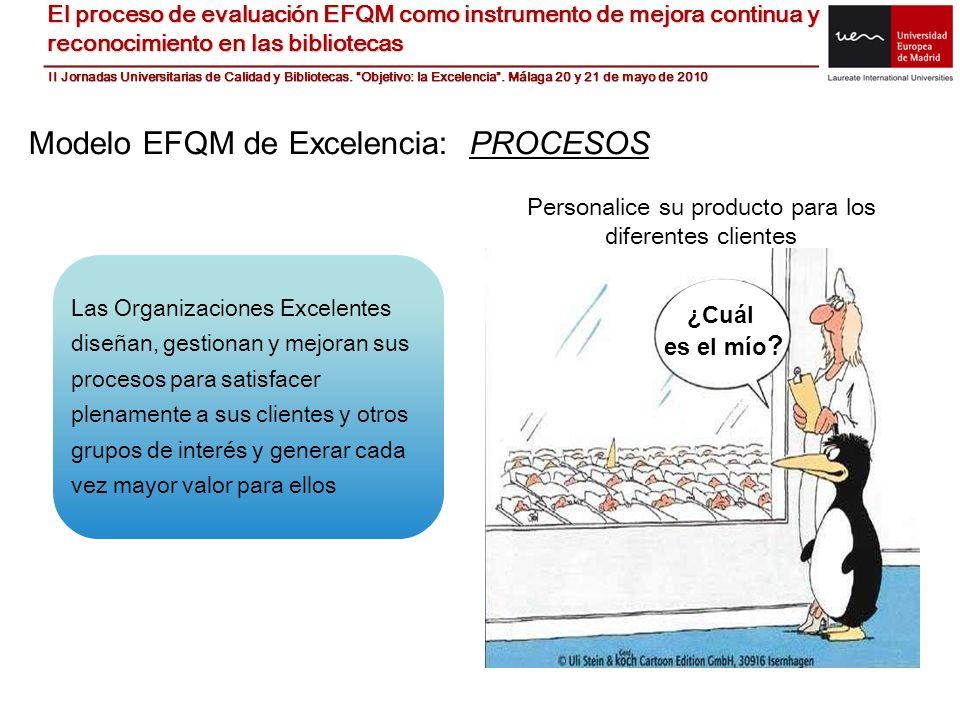 Modelo EFQM de Excelencia: PROCESOS Las Organizaciones Excelentes diseñan, gestionan y mejoran sus procesos para satisfacer plenamente a sus clientes