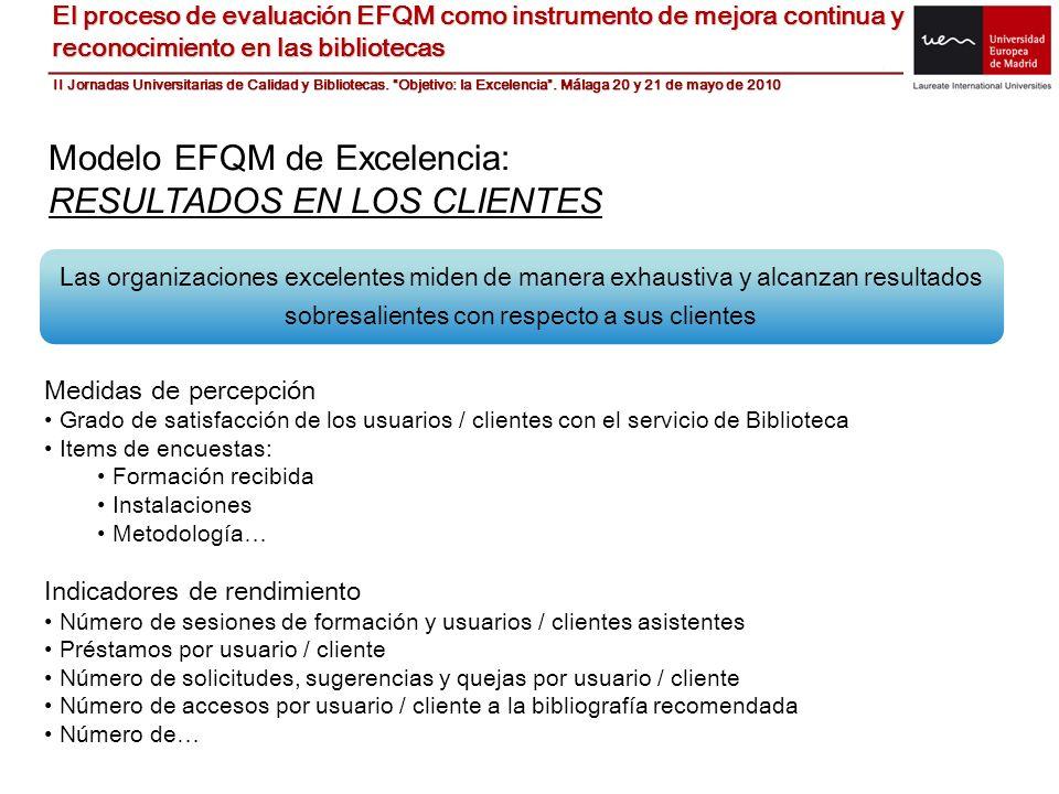 Modelo EFQM de Excelencia: RESULTADOS EN LOS CLIENTES Las organizaciones excelentes miden de manera exhaustiva y alcanzan resultados sobresalientes co