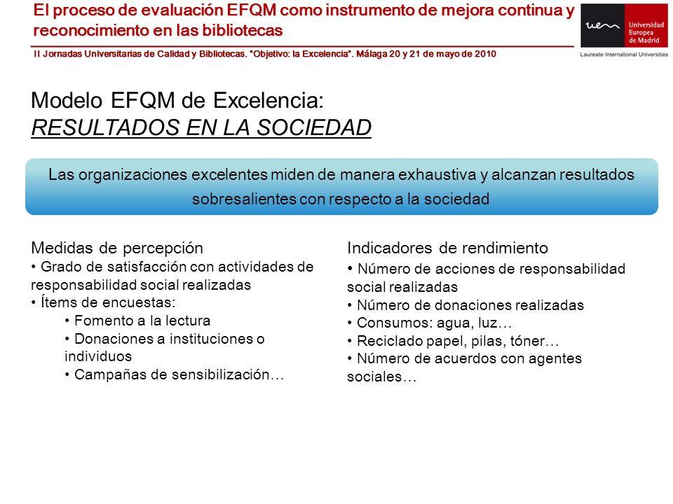 Modelo EFQM de Excelencia: RESULTADOS EN LA SOCIEDAD Las organizaciones excelentes miden de manera exhaustiva y alcanzan resultados sobresalientes con
