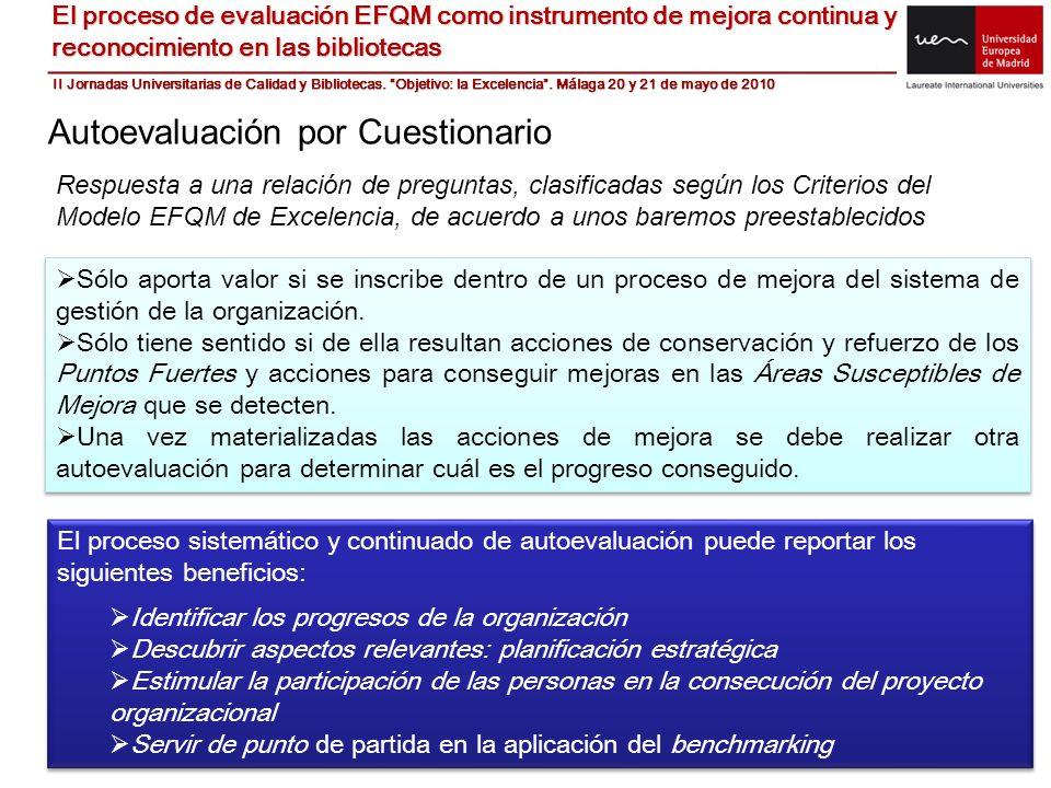 El proceso de evaluación EFQM como instrumento de mejora continua y reconocimiento en las bibliotecas Autoevaluación por Cuestionario Respuesta a una