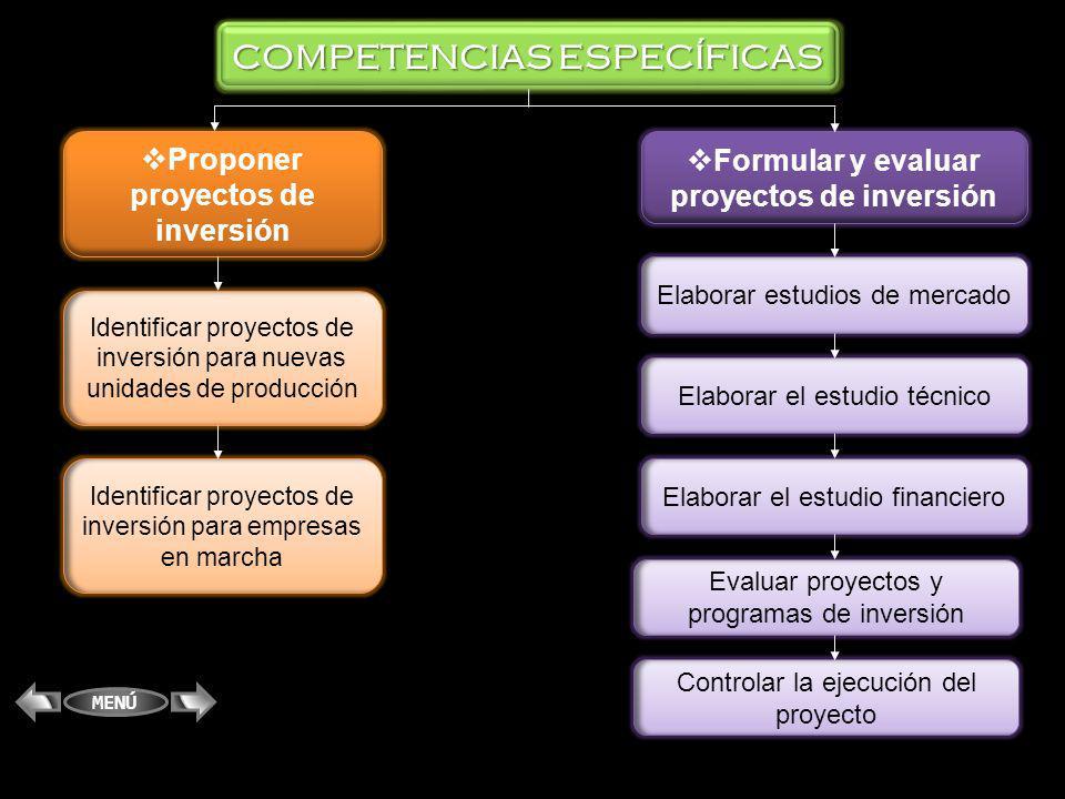 COMPETENCIAS ESPECÍFICAS Formular y evaluar proyectos de inversión Proponer proyectos de inversión Identificar proyectos de inversión para nuevas unid