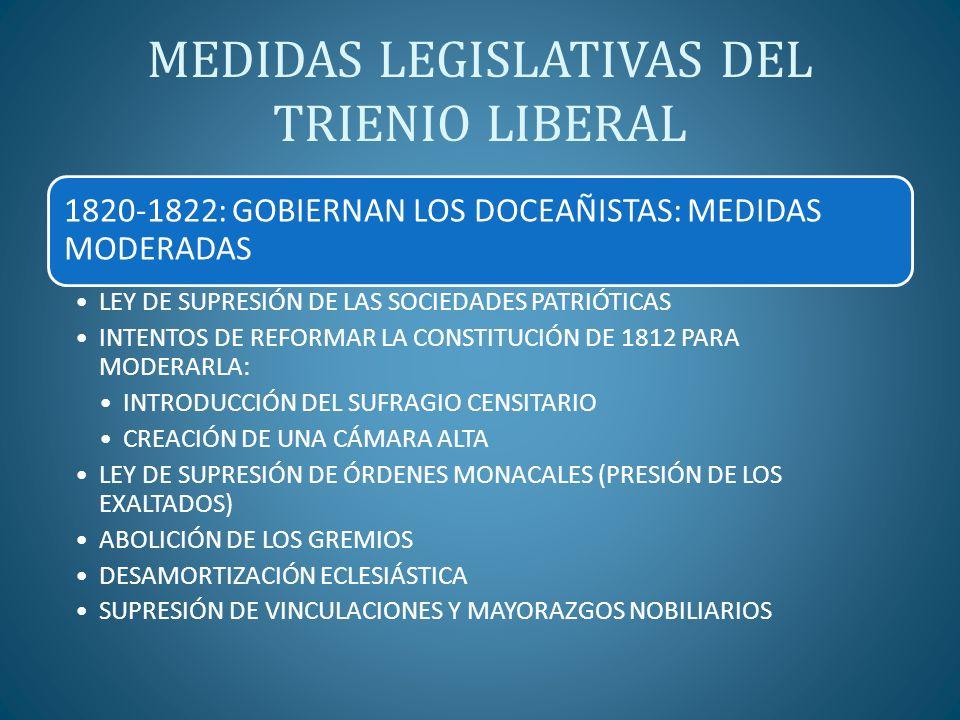 MEDIDAS LEGISLATIVAS DEL TRIENIO LIBERAL 1820-1822: GOBIERNAN LOS DOCEAÑISTAS: MEDIDAS MODERADAS LEY DE SUPRESIÓN DE LAS SOCIEDADES PATRIÓTICAS INTENT