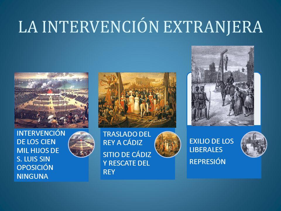 LA INTERVENCIÓN EXTRANJERA INTERVENCIÓN DE LOS CIEN MIL HIJOS DE S. LUIS SIN OPOSICIÓN NINGUNA TRASLADO DEL REY A CÁDIZ SITIO DE CÁDIZ Y RESCATE DEL R