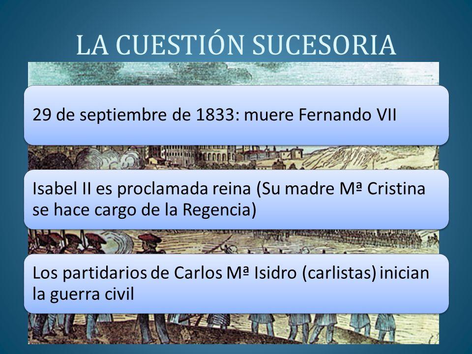 LA CUESTIÓN SUCESORIA 29 de septiembre de 1833: muere Fernando VII Isabel II es proclamada reina (Su madre Mª Cristina se hace cargo de la Regencia) L