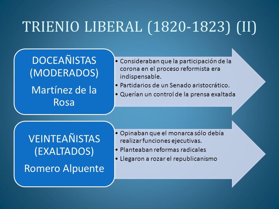 TRIENIO LIBERAL (1820-1823) (II) Consideraban que la participación de la corona en el proceso reformista era indispensable. Partidarios de un Senado a
