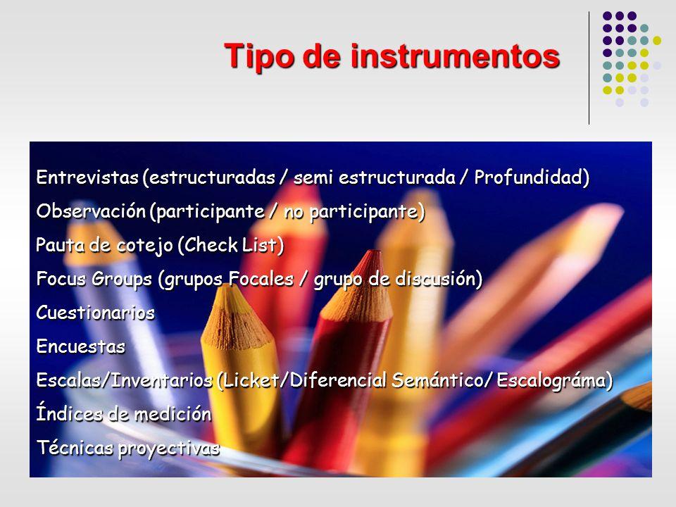 Tipo de instrumentos Entrevistas (estructuradas / semi estructurada / Profundidad) Observación (participante / no participante) Pauta de cotejo (Check