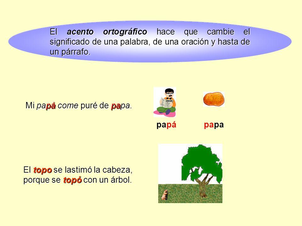 El acento ortográfico ortográfico hace que cambie el significado de una palabra, de una oración y hasta de un párrafo.