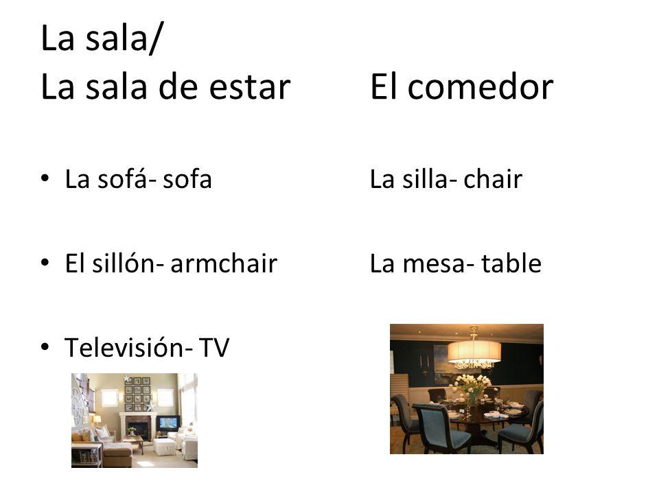 La sala/ La sala de estarEl comedor La sofá- sofaLa silla- chair El sillón- armchairLa mesa- table Televisión- TV