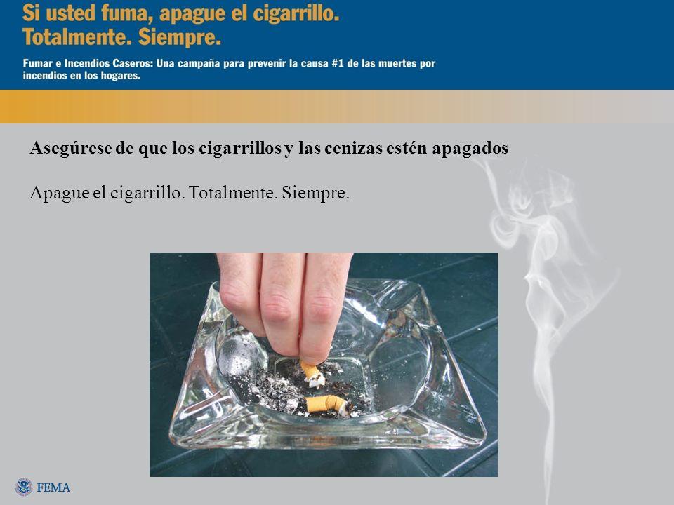 Asegúrese de que los cigarrillos y las cenizas estén apagados Apague el cigarrillo. Totalmente. Siempre.