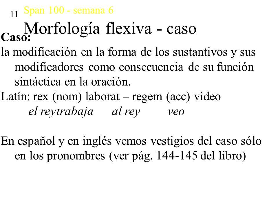 Span 100 - semana 6 Morfología flexiva - caso 11 Caso: la modificación en la forma de los sustantivos y sus modificadores como consecuencia de su func