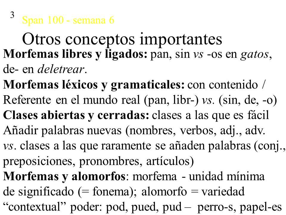 Span 100 - semana 6 Morfología flexiva 4 La flexión modifica significados típicamente grama- ticales: género, caso y número de los sustantivos, tiempo y modo verbal.
