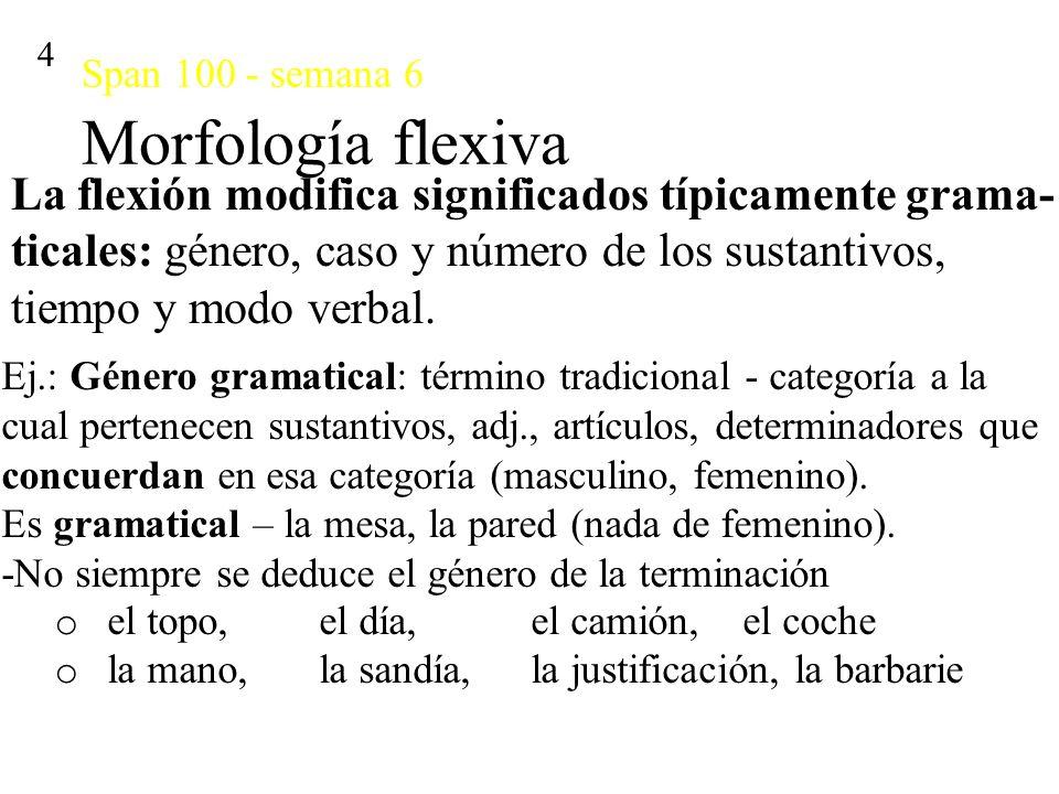 Span 100 - semana 6 Morfología flexiva 4 La flexión modifica significados típicamente grama- ticales: género, caso y número de los sustantivos, tiempo