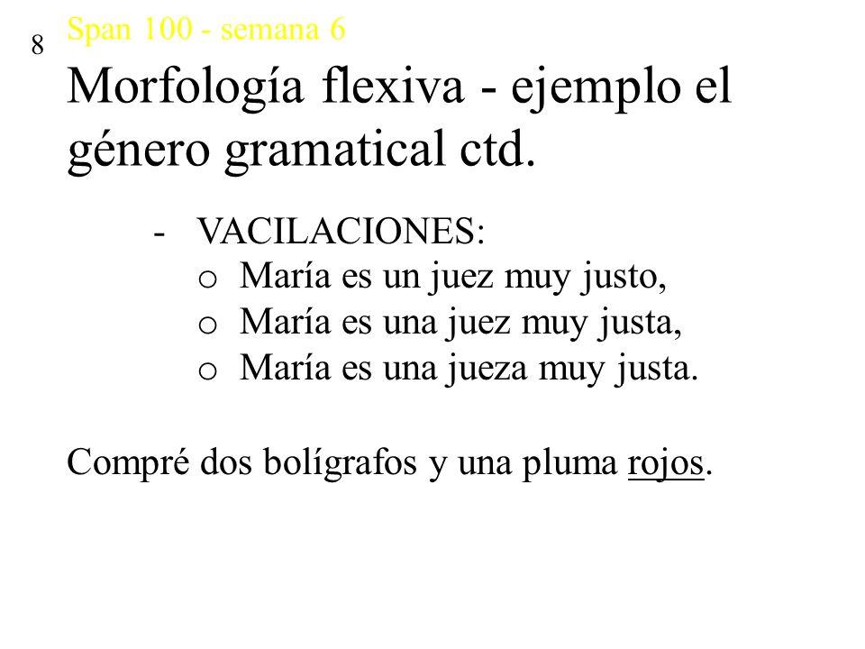 Span 100 - semana 6 Morfología flexiva - ejemplo el género gramatical ctd. 8 -VACILACIONES: o María es un juez muy justo, o María es una juez muy just
