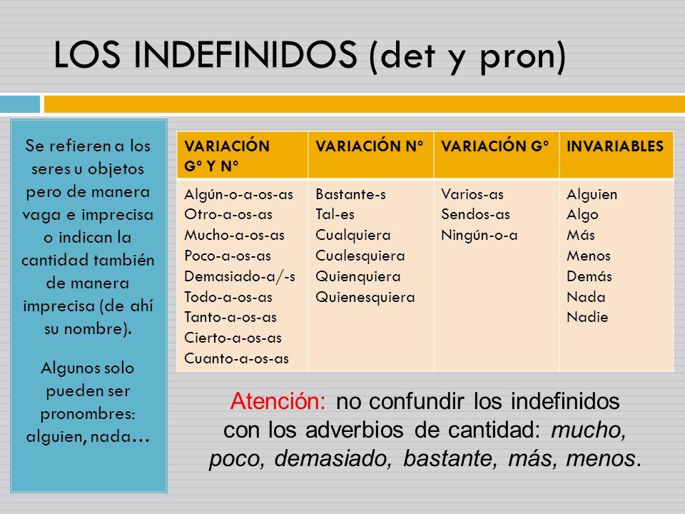 LOS INDEFINIDOS (det y pron) Se refieren a los seres u objetos pero de manera vaga e imprecisa o indican la cantidad también de manera imprecisa (de a