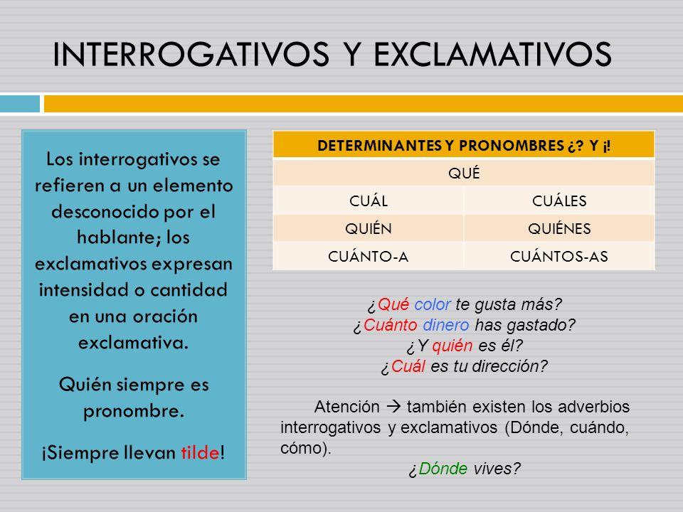 INTERROGATIVOS Y EXCLAMATIVOS Los interrogativos se refieren a un elemento desconocido por el hablante; los exclamativos expresan intensidad o cantida