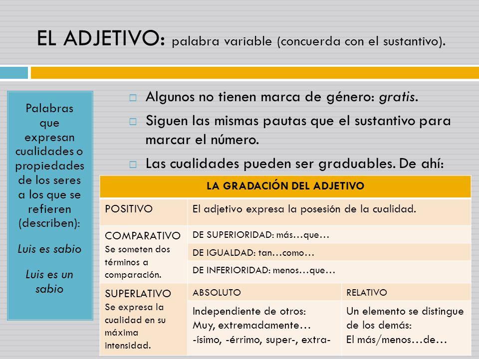 EL ADJETIVO: palabra variable (concuerda con el sustantivo). Palabras que expresan cualidades o propiedades de los seres a los que se refieren (descri