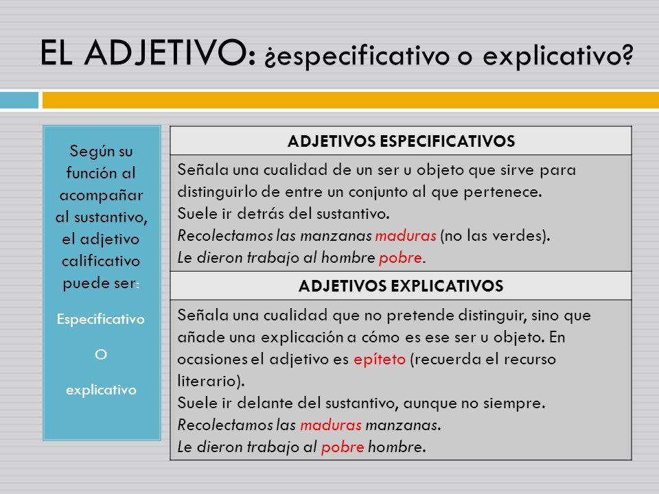 EL ADJETIVO: ¿especificativo o explicativo? Según su función al acompañar al sustantivo, el adjetivo calificativo puede ser : Especificativo O explica