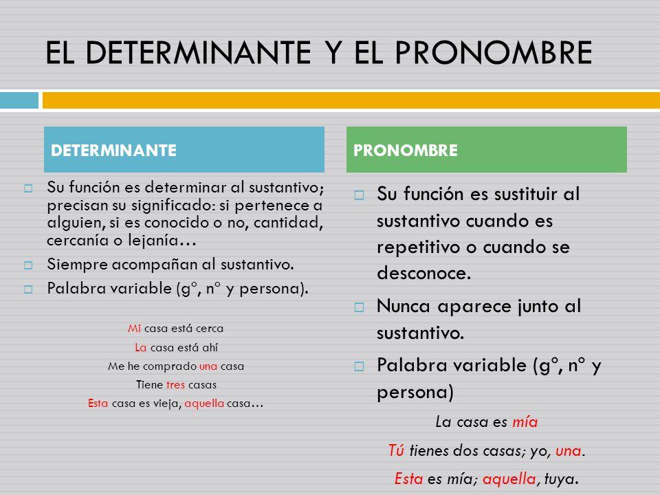 EL DETERMINANTE Y EL PRONOMBRE Su función es determinar al sustantivo; precisan su significado: si pertenece a alguien, si es conocido o no, cantidad, cercanía o lejanía… Siempre acompañan al sustantivo.