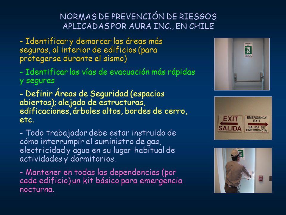 NORMAS DE PREVENCIÓN DE RIESGOS APLICADAS POR AURA INC., EN CHILE - Identificar y demarcar las áreas más seguras, al interior de edificios (para prote